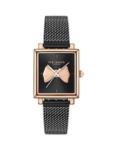 ted-baker-ted-baker-black-and-rose-gold-bow-detail-square-dial-black-stainless-steel-mesh-strap-ladies-watch