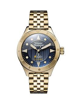 Vivienne Westwood Smithfield Textured Blue And Gold Plated Detail Dial Gold Stainless Steel Bracelet Mens Watch, One Colour, Men