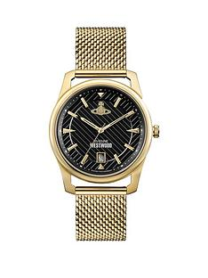 vivienne-westwood-vivienne-westwood-holborn-black-pinstripe-design-gold-detail-date-dial-gold-stainless-steel-mesh-strap-mens-watch