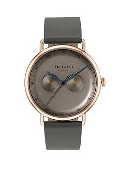 Ted Baker Ted Baker Silver With Orange And Blue Detail Dial Green Leather Strap Mens Watch, One Colour, Men