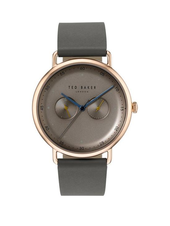 a40ca474a Ted Baker Ted Baker Silver with Orange and Blue Detail Dial Green Leather  Strap Mens Watch