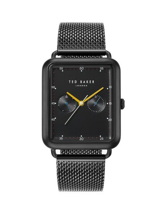 dacaf6d499d7 Ted Baker Ted Baker Black Rectangular Dial Black Stainless Steel Mesh Mens  Watch