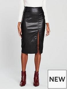 v-by-very-coated-thigh-split-midi-skirt-blacknbsp
