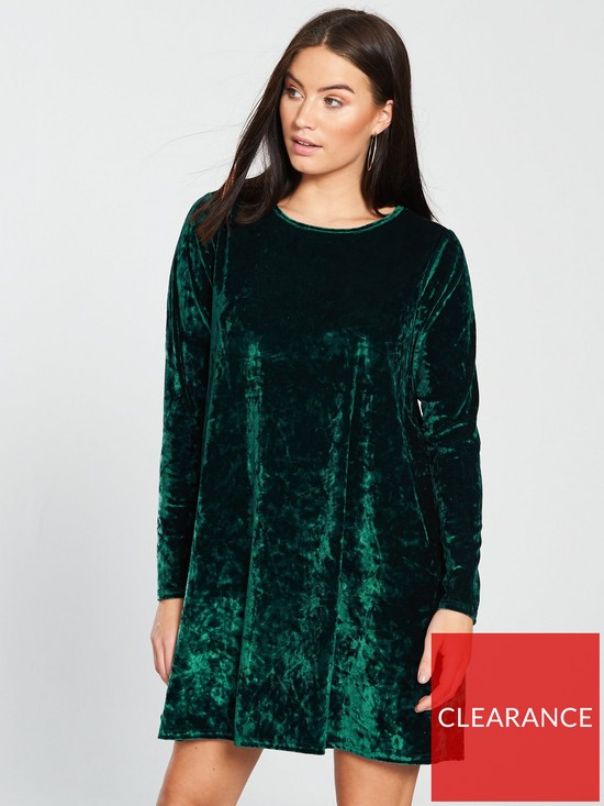 f2ebef1ba5c0 V by Very Velvet Swing Dress - Green | very.co.uk