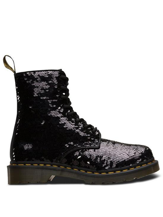 best cheap f69ae 08204 Dr Martens 1460 Pascal Sequin 8 Eye Ankle Boots - Black Silver   very.co.uk