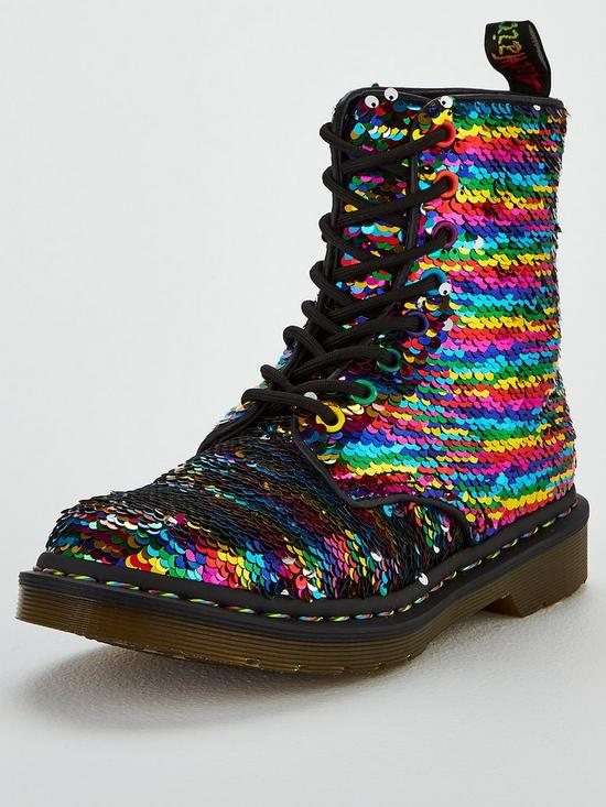 0c43cd98c00 Dr Martens 1460 Pascal Sequin 8 Eye Ankle Boots - Black/Silver ...