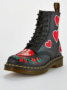 0f734dfc88f Dr Martens 1460 Pascal Hearts 8 Eye Leather Ankle Boots - Black