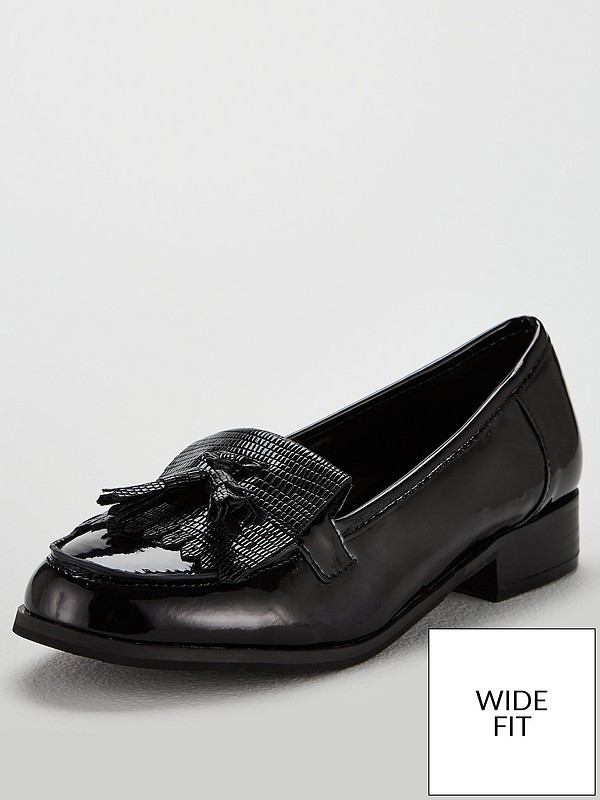 detailed look buying now top-rated official Wide Fit Millie Patent Loafer Flat Shoes - Black