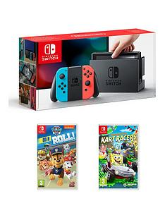 nintendo-switch-nintendo-switch-neon-console-with-paw-patrol-on-a-roll-and-nickelodeon-kart-racers