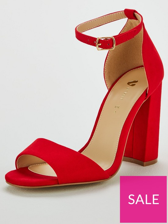 a37d5eb2 V by Very Bessie Strap Block Heel Sandal Shoes - Red | very.co.uk