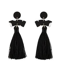 v-by-very-mono-and-tassel-earring-black
