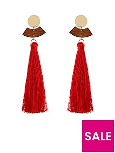 v-by-very-wood-gold-and-tassel-earring-multi