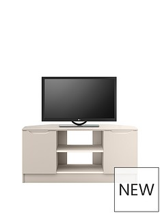 Ideal Home Bilbao Ready Assembled 2 Door High Gloss Corner TV Unit - Cashmere - fits up to 46 inch TV