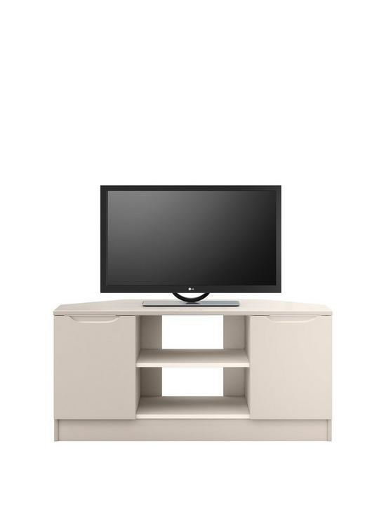 Ideal Home Bilbao Ready Assembled 2 Door High Gloss Corner Tv Unit