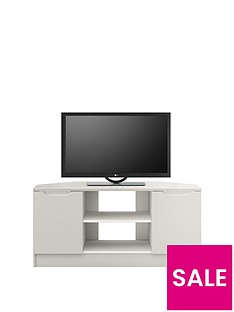 Ideal Home Bilbao Ready Assembled 2 Door High Gloss Corner TV Unit - Grey - fits up to 46 inch TV