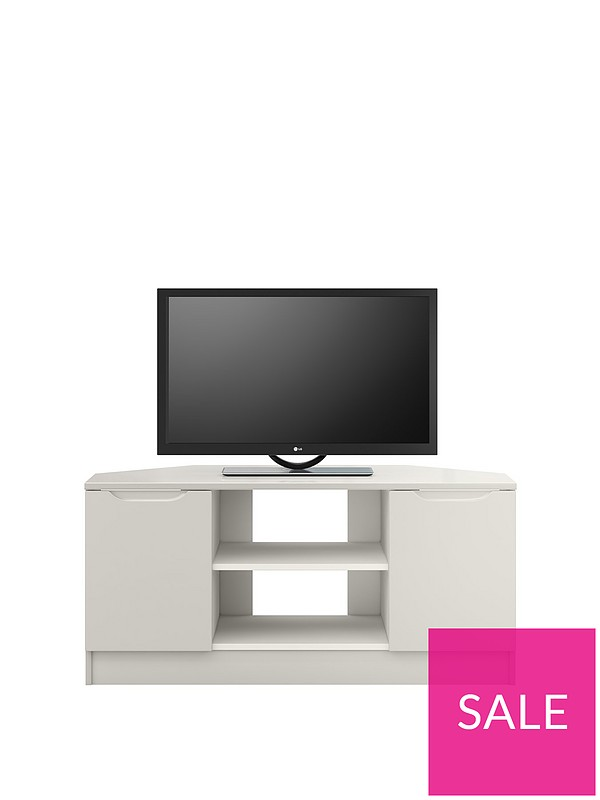 another chance 79322 c6362 Bilbao Ready Assembled 2 Door High Gloss Corner TV Unit - Grey - fits up to  46 inch TV