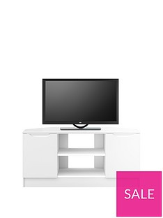 Ideal Home Bilbao Ready Assembled 2 Door High Gloss Corner TV Unit - White - fits up to 46 inch TV