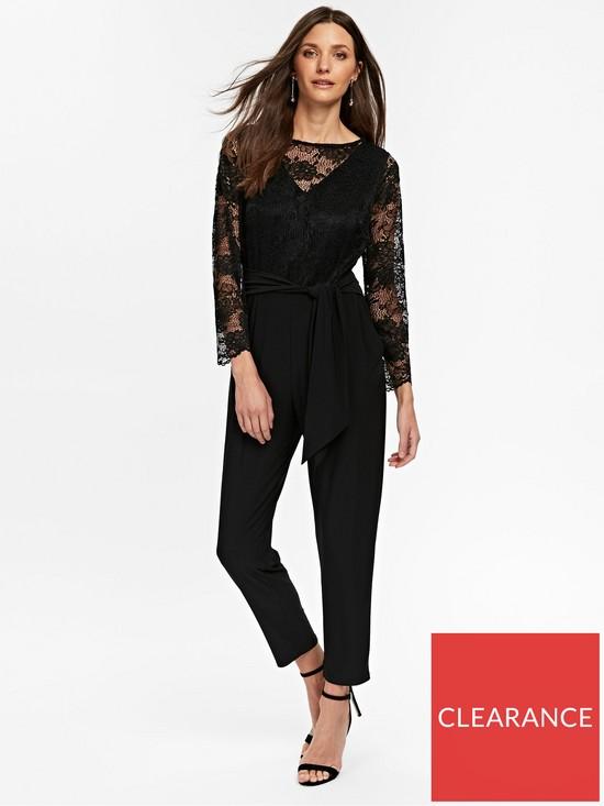 39647950377 Wallis Petite Lace Jumpsuit - Black