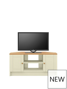 AlderleyReady Assembled Cream Corner TV Unit -Cream/Oak Effect - fits up to 48 inch