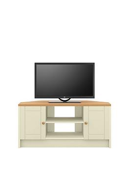 Alderley Ready Assembled Cream Corner Tv Unit - Cream/Oak Effect - Fits Up To 48 Inch