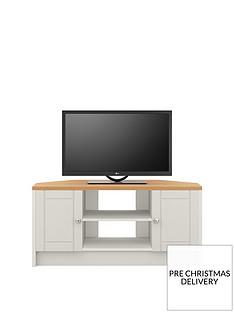 Alderley 2 Drawer Ready Assembled Corner TV Unit -Grey/Oak Effect- fits up to 48 inch TV