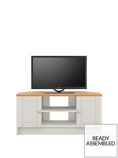Alderley 2 Drawer Ready Assembled Corner TV Unit - Grey/Oak Effect - fits up to 48 inch TV