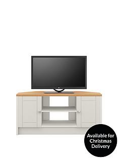 Alderley 2 Drawer Ready Assembled TV Unit -Grey/Oak Effect- fits up to 48 inch TV