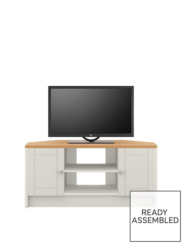 brand new a5564 6d82d Alderley 2 Drawer Ready Assembled Corner TV Unit - Grey/Oak Effect - fits  up to 48 inch TV