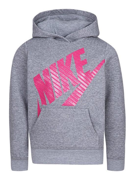 size 40 82f32 8d450 Nike Girls Futura Fleece Overhead Hoodie - Grey