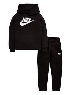 3e211bec91f6 Nike Boys Clube Fleece Hoodie   Pant Tracksuit - Black