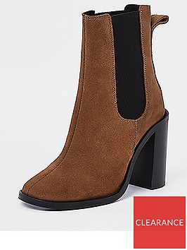 river-island-river-island-premium-suede-ankle-boots-tan