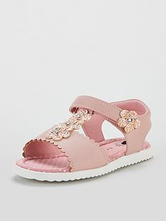 5df8fd25eba Mini V by Very Poppy Glitter Flower Sandals - Pink