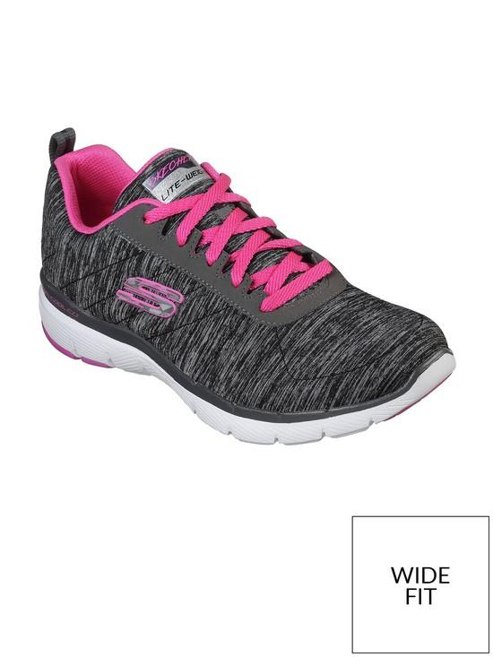 7b10e8b02f32 Skechers Wide Fit Flex Appeal 3.0 Insiders - Black