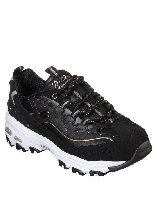 c8faf8fbe636 Skechers D lites Glamour Feels Lace Up Leather Trainers - Black ...