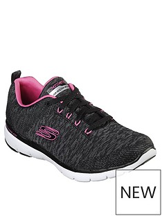 skechers-flex-appeal-30-knit-lace-up-trainers-greypink