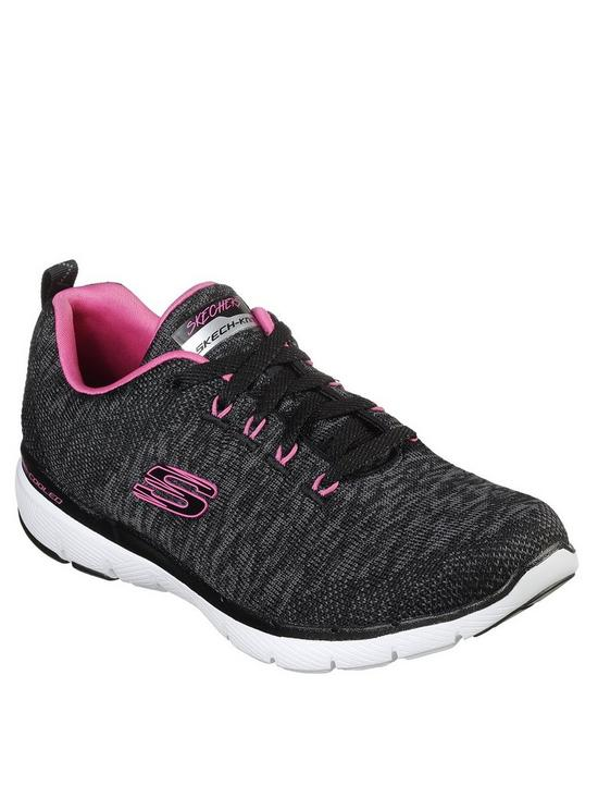 2b31271659fe Skechers Flex Appeal 3.0 Knit Lace Up Trainers - Grey Pink