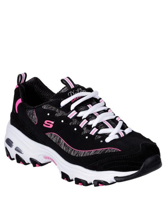96045582dcf8 Skechers D lites Me Time Lace Up Leather Trainers - Black Pink ...