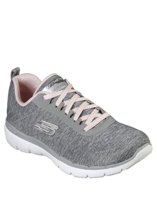ffa494ef1002 Skechers Flex Appeal 3.0 Knit Lace Up Trainers - Grey Pink