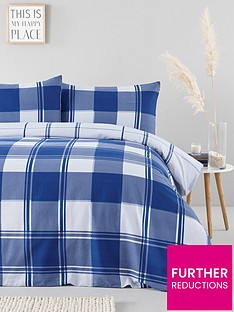 everyday-collection-brushed-cotton-check-duvet-cover-set-blue