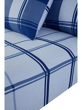 everyday-collection-brushed-cotton-check-fitted-sheet-blue