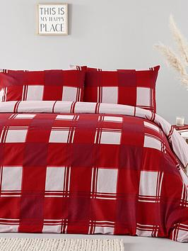 everyday-collection-brushed-cotton-check-duvet-cover-set-red