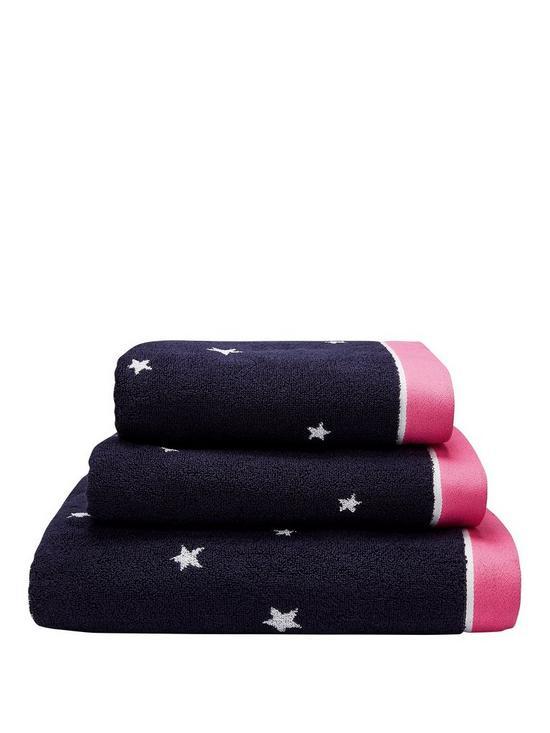 32d23f2b09fc5 Joules Navy Star 100% Cotton Bath Towel Range | very.co.uk