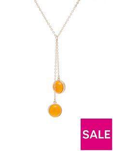 karen-millen-logo-cabochon-double-drop-necklace-orangegold