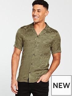 river-island-short-sleeve-khaki-jaquard-revere-shirt