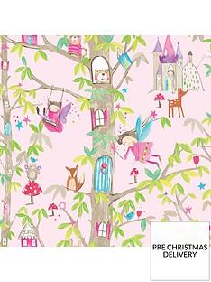 arthouse-woodland-fairies-pink-wallpaper