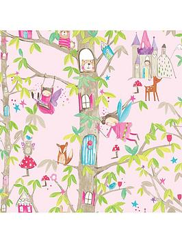 arthouse-woodland-fairies-pink-wallpaper