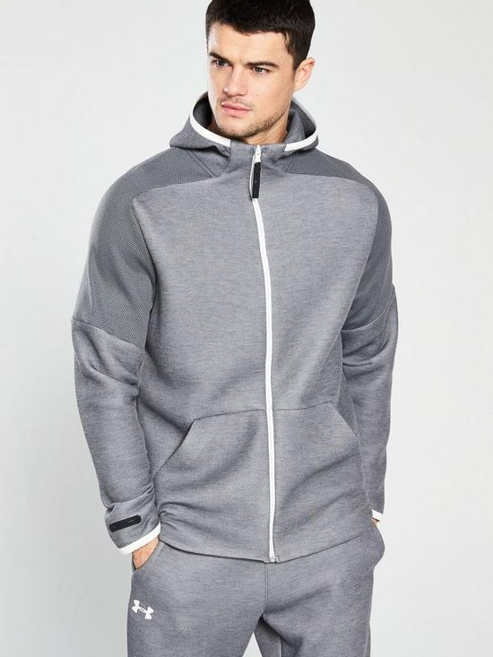 1a646e73e818af UNDER ARMOUR Unstoppable Move Light Full Zip Hoodie - Light Grey Heather