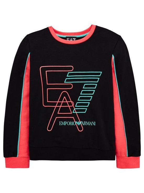Emporio Armani EA7 Girls Neon Logo Crew Neck Sweat   very.co.uk 553825a3425b