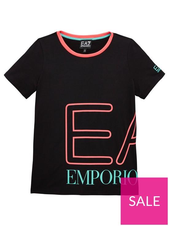 2ce30c1b EA7 Emporio Armani Girls Short Sleeve Neon Logo T-Shirt   very.co.uk