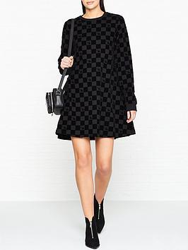 mcq-alexander-mcqueen-babydoll-check-board-dress-black